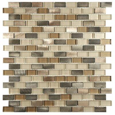 Commix Brushed 0.5 x 1.875  Aluminum/Glass Mosaic Tile in Amador