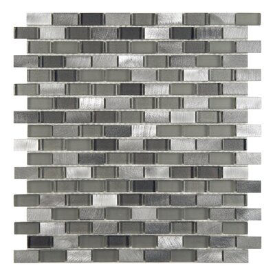 Commix Brushed 0.5 x 1.875 Aluminum/Glass Mosaic Tile in Sonoma