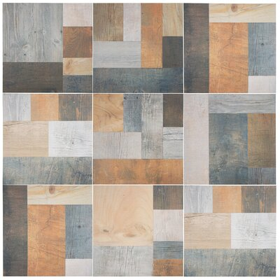 17.38 x 17.38 Porcelain Splitface Tile in Beige/Gray/Brown