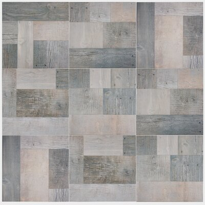 Cabin 17.38 x 17.38 Porcelain Wood Look/Field Tile in Gris