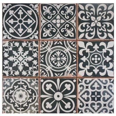 Faventie Nero 13 x 13 Ceramic Field Tile in Black/White