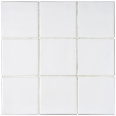 Contour Square 3.75 x 3.75 Ceramic Field Tile in White
