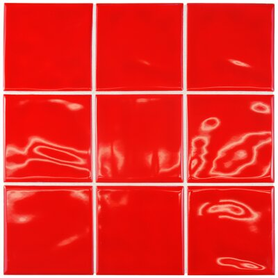 Contour Square 3.75 x 3.75 Ceramic Field Tile in Red