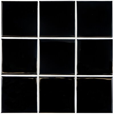 Contour Square 3.75 x 3.75 Ceramic Field Tile in Black