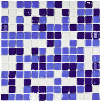Colgadilla 0.88 x 0.88 Glass Mosaic Tile in Blue/White