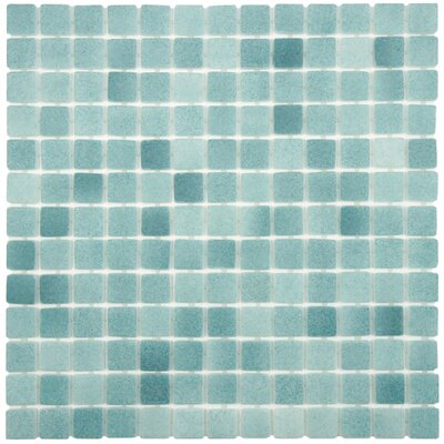 Colgadilla Square 0.88 x 0.88 Glass Mosaic Tile in Aqua