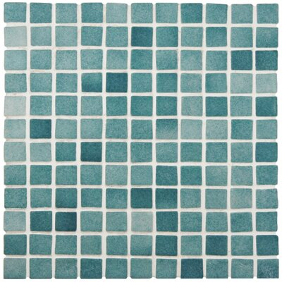 Colgadilla Square 0.88 x 0.88 Glass Mosaic Tile in Aqua