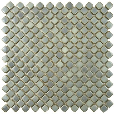 Gem 0.71 x 0.71 Porcelain Mosaic Tile in Glossy Gray