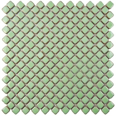 Gem 0.71 x 0.71 Porcelain Mosaic Tile in Glossy Light Green