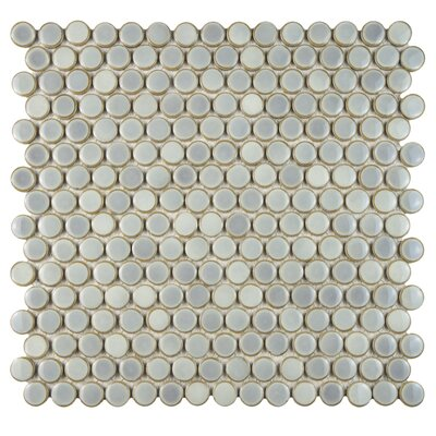 Penny 0.8 x 0.8 Porcelain Mosaic Tile in Glossy Gray