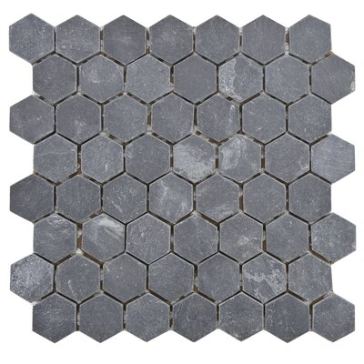 Peak 1.5 x 1.63 Natural Stone Mosaic Tile in Black