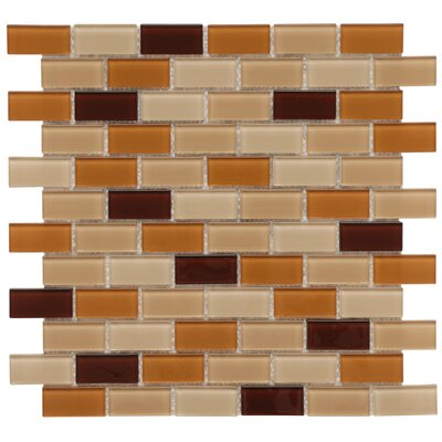 Ambit 0.88 x 1.88 Glass Mosaic Tile in Caf�