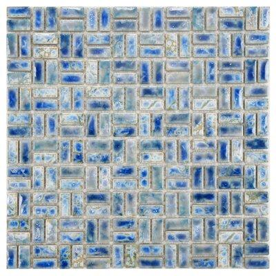 Arcadia Weave 0.5 x 1 Porcelain Mosaic Tile in Neptune Blue