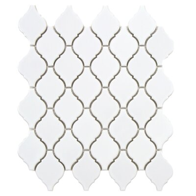 Arabesque 1.87 x 2.75 Porcelain Mosaic Tile in Glossy White