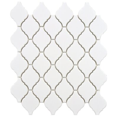 Arabesque 1.87 x 2.75 Porcelain Mosaic Tile in Matte White