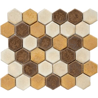 Heritage 1.88 x 1.88 Ceramic Mosaic Tile in Brown/Gold