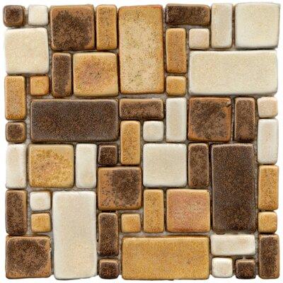 Heritage Random Sized Ceramic Mosaic Tile in Brown/Gold