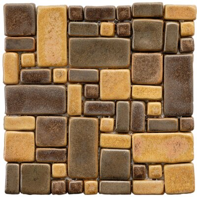 Heritage Random Sized Ceramic Mosaic Tile in Brown/Gold