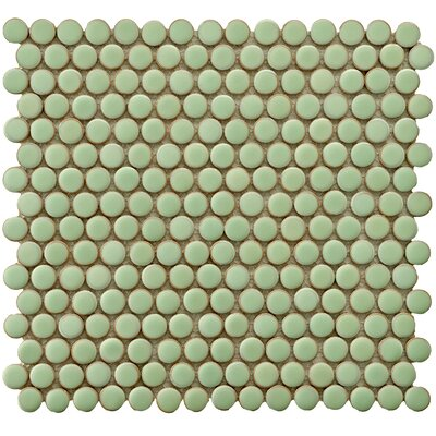 Penny 0.8 x 0.8 Porcelain Mosaic Tile in Moss Green