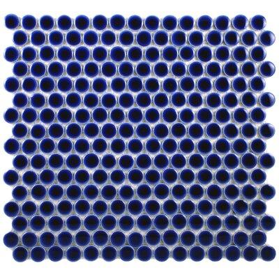 Penny 0.8 x 0.8 Porcelain Mosaic Tile in Cobalt