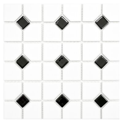 Cambridge Random Sized Porcelain Mosaic Tile in Matte White/Black