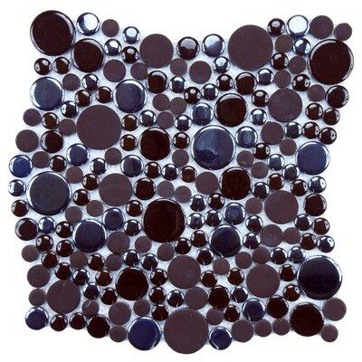Posh Bubble Random Sized Porcelain Pebble Tile in Brown