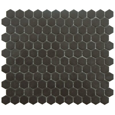 New York Hexagon 10.25 x 12 Porcelain Unglazed Mosaic Tile in Antique Black