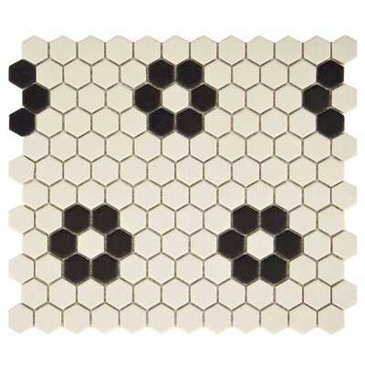 New York Hexagon 0.875 x 0.875 Porcelain Unglazed Mosaic Tile in Antique White with Heavy Flower