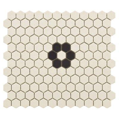 New York Hexagon 0.875 x 0.875 Porcelain Unglazed Mosaic Tile in Textured Black/Cream
