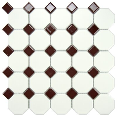 Retro Random Sized Porcelain Mosaic Tile in Matte White/Burgundy