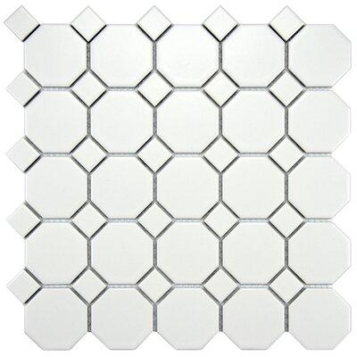 SAMPLE - Retro Random Sized Glazed Porcelain Mosaic with White Dot