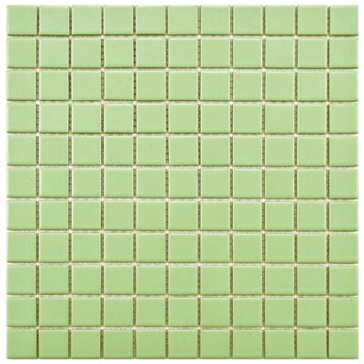 Retro 1 x 1 Porcelain Mosaic Tile in Matte Light Green