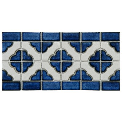Castle 5.75 x 11.75 Porcelain Mosaic Tile in White/Cobalt