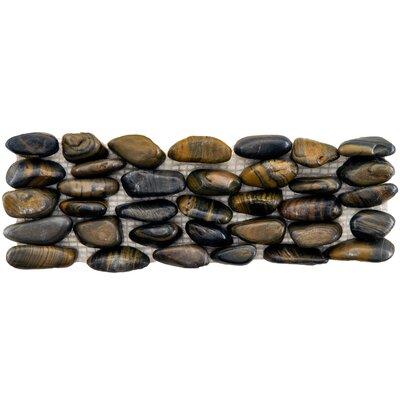 Brook Random Sized Natural Stone Pebble Tile in Black/Brown