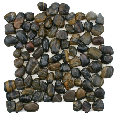 Brook 11.75 x 11.75 Natural Stone Pebble Tile in Tiger Eye