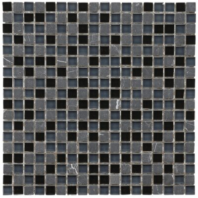 Sierra 0.58 x 0.58 Glass and Natural Stone Mosaic Tile in Black/Blue