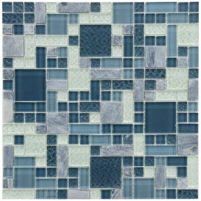 Sierra Random Sized Glass/Stone Mosaic Tile in Versailles Gulf