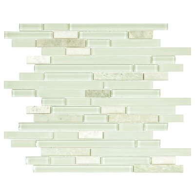 Sierra Random Sized Glass and Natural Stone Mosaic Tile in Polished Ming