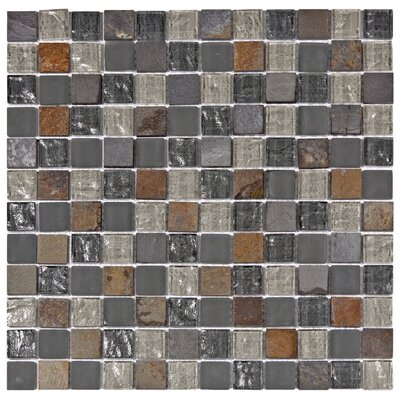 Sierra 0.88 x 0.88 Glass and Natural Stone Mosaic Tile in Brown/Gray