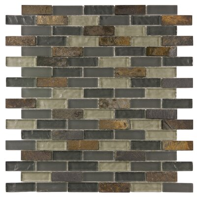 Sierra 0.58 x 1.88 Glass and Natural Stone Mosaic Tile in Brown/Gray