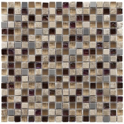 Sierra 0.58 x 0.58 Glass/Natural Stone/Metal Mosaic Tile in Brown/Cream
