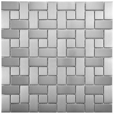 Random Sized Metal/Porcelain Mosaic Tile in Stainless Steel