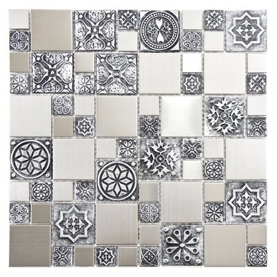 Random Sized Metal/Porcelain/Resin Mosaic Tile in Stainless Steel