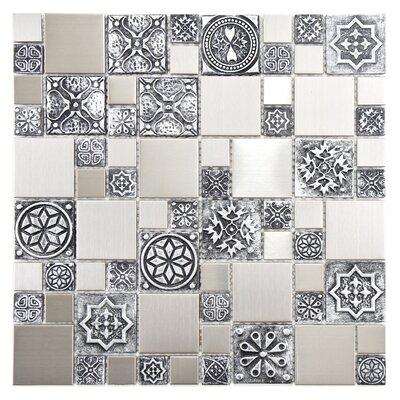 Random Sized Metal/Porcelain/Resin Mosaic Tile in Stainless Steel