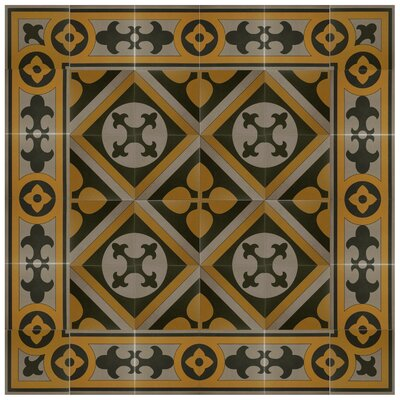 Cementa 7 x 7 Ceramic Glazed Decorative Murals Tile in Golden Yellow/Gray/Black