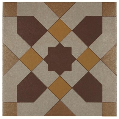 Cementa 7 x 7 Ceramic Tile in Burgundy/Gold/Tan