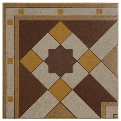 Cementa 7 x 7 Ceramic Glazed Decorative Murals Tile in Geo Esquina