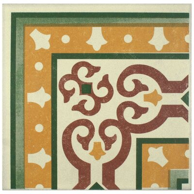 Cementa 7 x 7 Ceramic Glazed Decorative Murals Tile in Trab Esquina