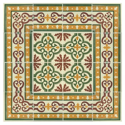 Cementa 7 x 7 Ceramic Glazed Decorative Murals Tile in Trab Cenefa