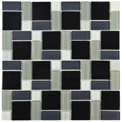 Ambit Glass Mosaic Tile in White and Black